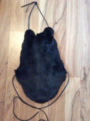 Imitz, Corsage, Fell, mit Lederbändern zum Schnüren, Onesize, schwarz