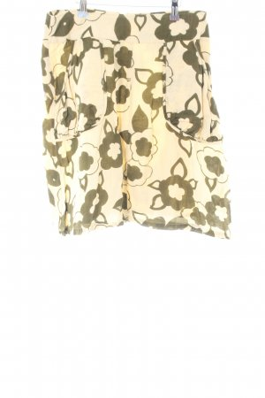 imitz Flared Skirt cream-khaki flower pattern casual look