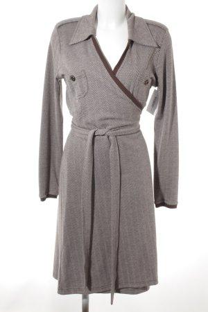 Imiz Long Jacket dark brown-white zigzag pattern elegant