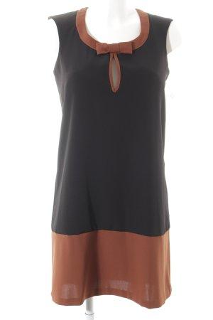 Imperial A-Linien Kleid schwarz-cognac Colourblocking Romantik-Look