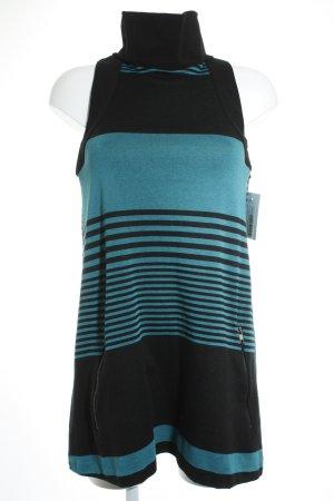 Imperial Jerseykleid schwarz-petrol Streifenmuster Casual-Look