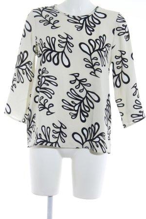 Imperial Langarm-Bluse wollweiß-schwarz florales Muster Elegant