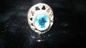 Zilveren ring lichtblauw-zilver Zilver