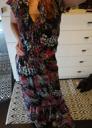 Impressionen Maxi Kleid geblümt Volants Blumen Plissee Boho Zara