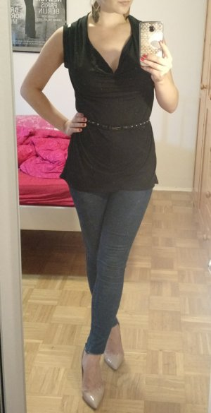 Improvd Top Bluse Gr. S 36 38 schwarz Wasserfall shirt blogger elegant