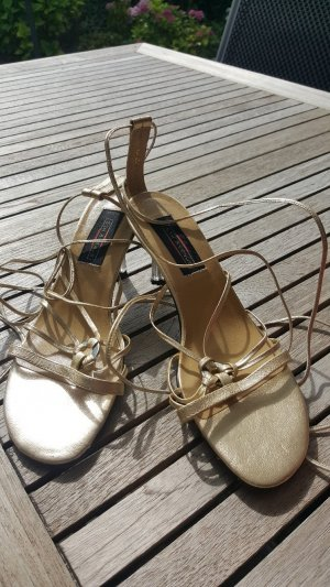 5th Avenue Strapped High-Heeled Sandals gold-colored leather