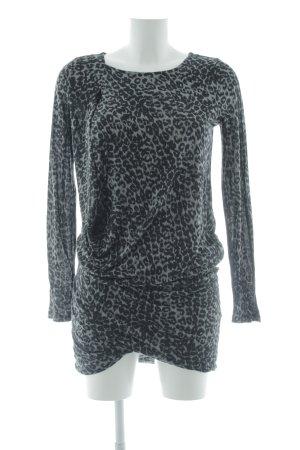 In Wear Abito a maniche lunghe nero-grigio Stampa leopardata stile casual