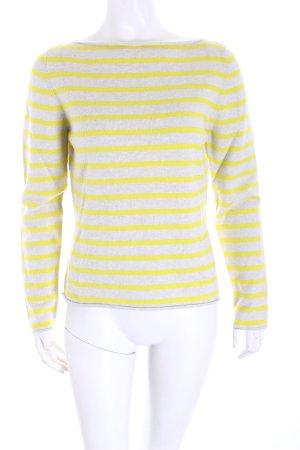 Incentive! Pullover in cashmere grigio chiaro-giallo motivo a righe stile casual
