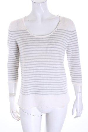 Incentive! Cashmerepullover weiß-graugrün Streifenmuster Casual-Look