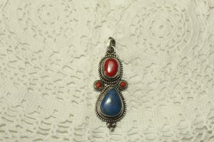 Indianerschmuck Echtsilber Lapis Lazuli Koralle Silber