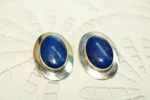 Boucle d'oreille bleu-argenté argent