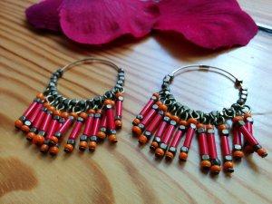 Indianische Ohrhänger Glasperlen Messing rot orange NEU