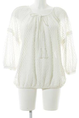 INDIGO Transparenz-Bluse wollweiß florales Muster Street-Fashion-Look