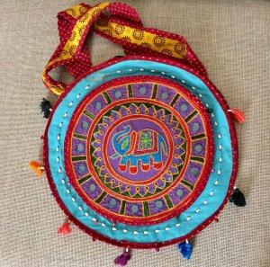 Indische Tasche, kunterbunt/Pailletten, NEU
