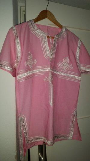 V-hals shirt neonroos-roze Katoen