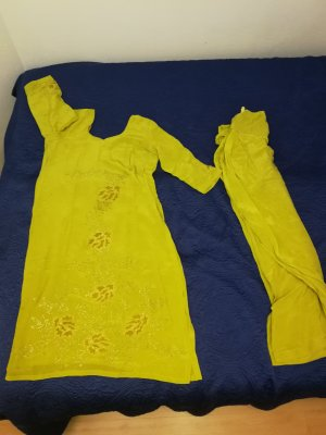 Tunic Dress gold-colored-lime yellow
