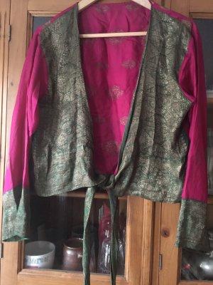 Camisa cruzada rosa-verde bosque