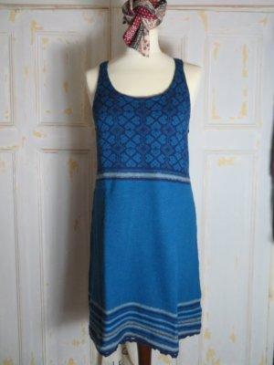 Indiska Blau gestreiftes Norweger Strickkleid mega süsses Latzkleid Merinowolle 36 S