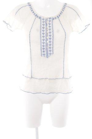Indiska Kurzarm-Bluse creme-neonblau Casual-Look