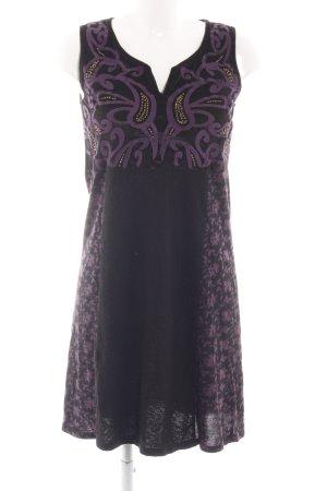 Indiska Vestido elástico negro-lila estampado floral elegante