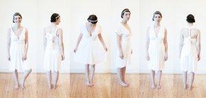 Infinity Wrapdress, Wickelkleid, Standesamt, S, doppellagig, weiß, creme