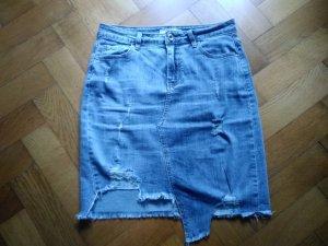 Denim Skirt azure-steel blue cotton