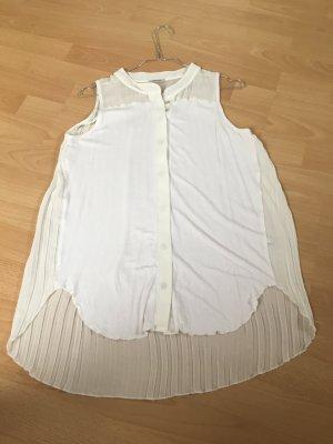 Intimissimi Bluse Shirt Top weiß Creme S 34 36 38 Silber Knöpfe Plissee