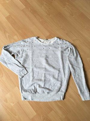 Intimissimi Pullover Pulli M 38 Oversize grau Perlen Sweatshirt