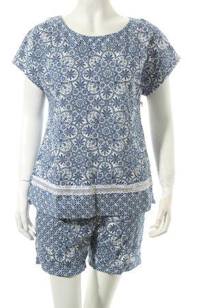 Intimissimi Pyjama weiß-blau florales Muster Casual-Look
