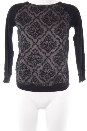 Intimissimi Strickshirt schwarz-creme Ornamentenmuster Transparenz-Optik