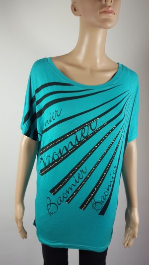 Oversized Shirt turquoise-black