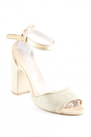 Intrend Strapped High-Heeled Sandals beige-gold-colored glittery