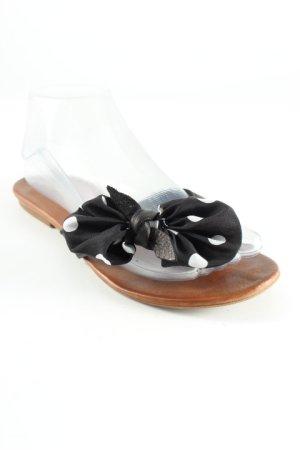 Inuovo Flip Flop Sandalen schwarz-weiß Punktemuster Casual-Look