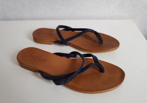 INUOVO Leder Sandale Zehentrenner Blau mit Schmucksteinen 38