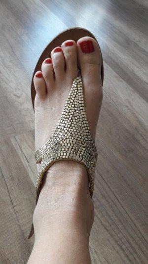 Inuovo Sandalen Dianette Gold Struktur Sandalette 38