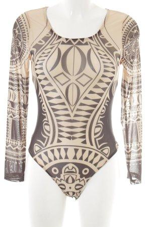INVOGUE Longsleeve nude-schwarz Aztekenmuster extravaganter Stil