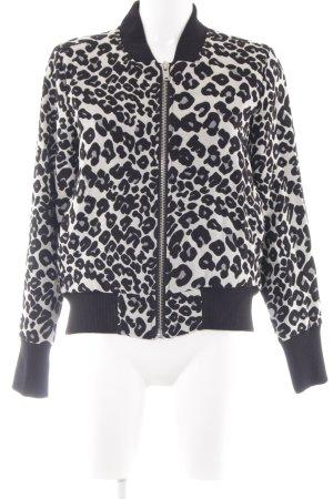 InWear Blouson aviateur noir-blanc motif léopard imprimé animal
