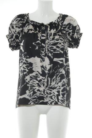 InWear Rüschen-Bluse schwarz-hellbeige abstraktes Muster 60ies-Stil