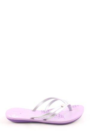 Ipanema Flip Flop Sandalen lila-silberfarben Blumenmuster schlichter Stil