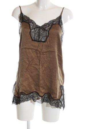 Ipekyol ärmellose Bluse bronzefarben-schwarz Casual-Look