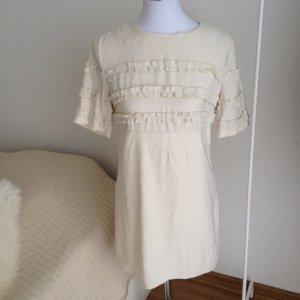 IPEKYOL wunderschönes Kleid mit Wolle Gr. 40 Rüschen Creme Ekru Viktorianisch