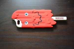 Moschino Mobile Phone Case neon red-natural white