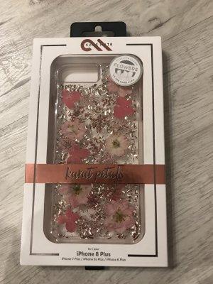 Étui pour téléphone portable argenté-rose fluo