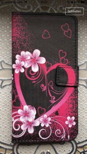 Étui pour téléphone portable rose-noir