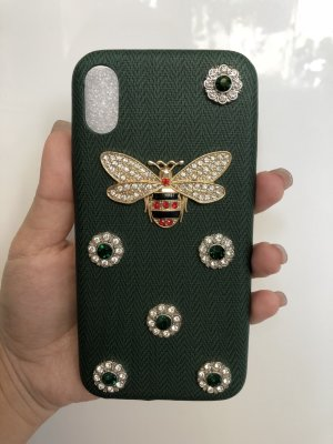 IPhone X Case dunkelgrün Kristalle Biene