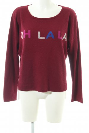 Iphoria Cashmere Jumper red printed lettering casual look