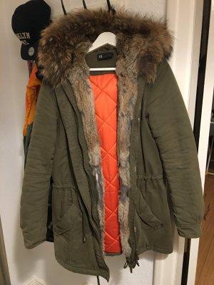 IQ+ Berlin Pelt Jacket olive green-neon orange
