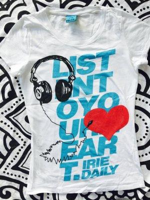 Iriedaily T-Shirt Gr. M weiß Statement Shirt kurzarm