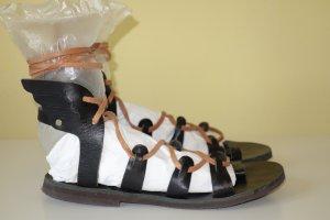 Romeinse sandalen zwart-bruin Leer
