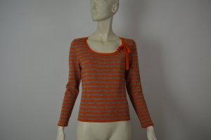 Iris von Arnim Pullover Gr.S Orange-Grau Zierschleife
